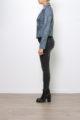 Graue Damen Kunstlederjacke in verwaschener Melange Optik - Lederimitatjacke von Softy by Ever Boom - Seitenansicht