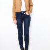 Hellbraune Damen Jacke im Biker-Look - Lederimitatjacke von Softy by Ever Boom - Ganzkörperansicht