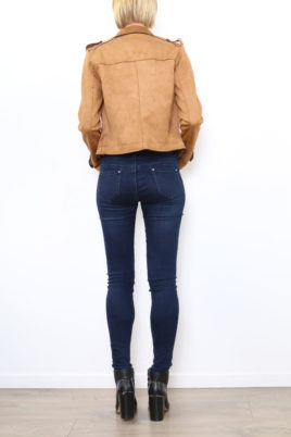 Hellbraune Damen Jacke im Biker-Look - Lederimitatjacke von Softy by Ever Boom - Rückenansicht