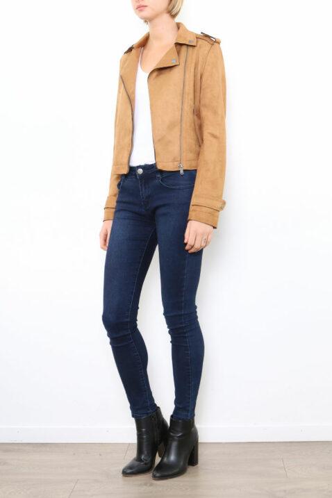 Hellbraune Damen Jacke im Biker-Look - Lederimitatjacke von Softy by Ever Boom - Vorderansicht