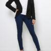 Schwarzer Damen Casual Blazer in Wasserfall-Optik von Softy by Ever Boom - Ganzkörperansicht