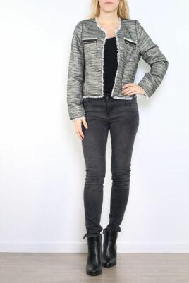 Tailya Paris schwarzer Damen Blazer mit Fransendetails & Glanz-Metallic-Effekt – Lurex Business & Casual – Ganzkörperansicht