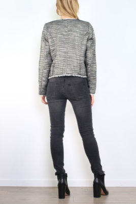 Schwarzer Damen Blazer mit Fransendetails & Glanz-Metallic-Effekt - Lurex Business & Casual von Tailya Paris - Rückenansicht