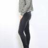 Schwarzer Damen Blazer mit Fransendetails & Glanz-Metallic-Effekt - Lurex Business & Casual von Tailya Paris - Seitenansicht