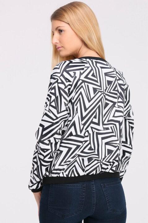 Schwarz weiß gemusterte Damen Blousonjacke - Bomberjacke mit Bündchen von Vanilla - Rückenansicht