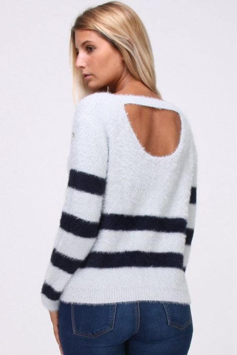Grauer Damen Pullover in Fransenoptik und rückenfreiem Detail - Streifenpullover von Cherry Paris - Rückenansicht