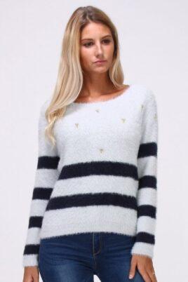 Cherry Paris grauer Damen Pullover in Fransenoptik und rückenfreiem Detail – Streifenpullover – Vorderansicht