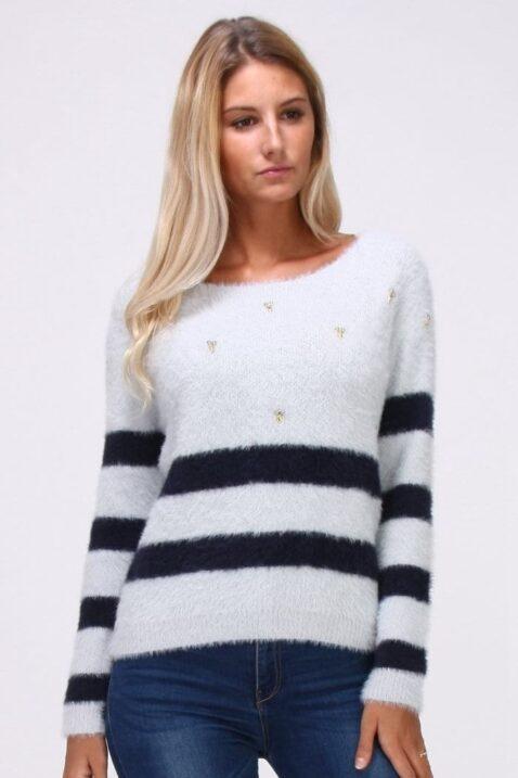 Grauer Damen Pullover in Fransenoptik und rückenfreiem Detail - Streifenpullover von Cherry Paris - Vorderansicht