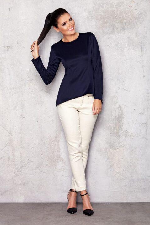 Marineblaues Damen Longsleeve Shirt - elegantes Langarmshirt unifarben von Infinite You - Ganzkörperansicht