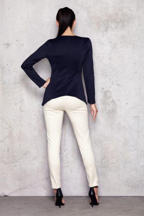 Marineblaues Damen Longsleeve Shirt - elegantes Langarmshirt unifarben von Infinite You - Rückenansicht