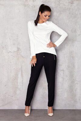 Infinite You weißes Damen Longsleeve Shirt – elegantes Langarmshirt unifarben – Ganzkörperansicht