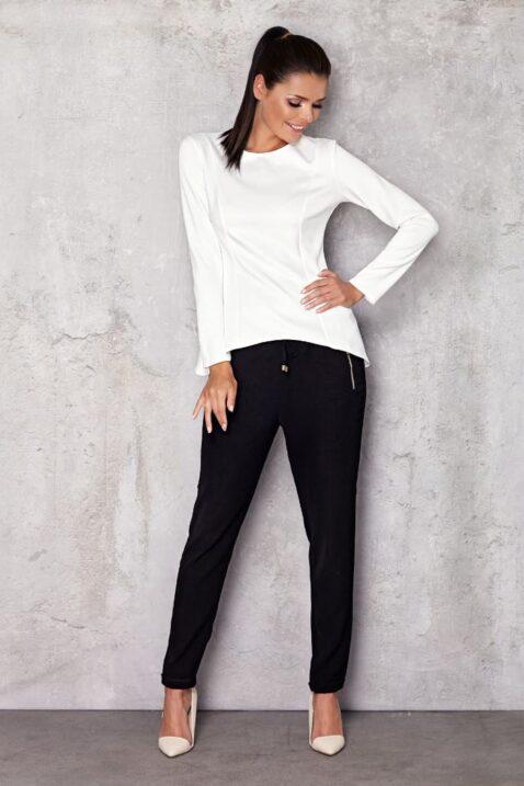 Weißes Damen Longsleeve Shirt - elegantes Langarmshirt unifarben von Infinite You - Ganzkörperansicht