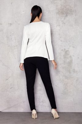 Weißes Damen Longsleeve Shirt - elegantes Langarmshirt unifarben von Infinite You - Rückenansicht