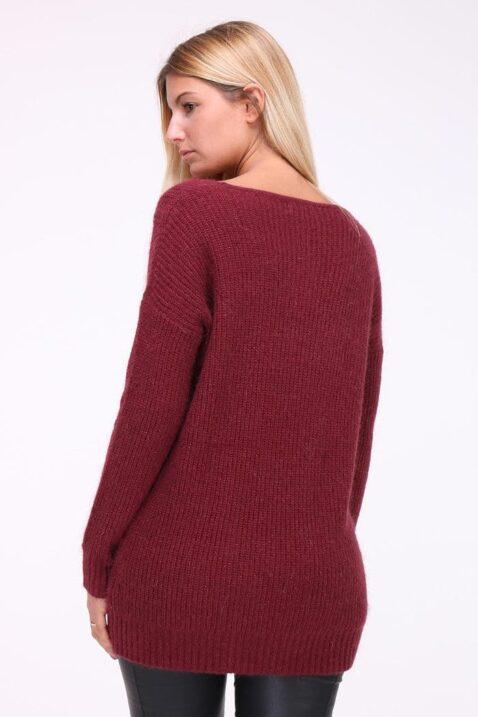 Bordeaux roter Damen Pullover mit weitem V-Ausschnitt von Kilky - Rückenansicht