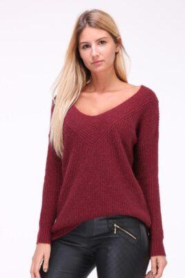 Kilky Lurex bordeaux roter Damen Pullover mit weitem V-Ausschnitt – Vorderansicht