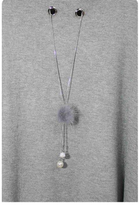 Grauer leichter Damen Pullover mit Kettendetail, Ösen & seitliche Schlitze von Kilky - Detailansicht