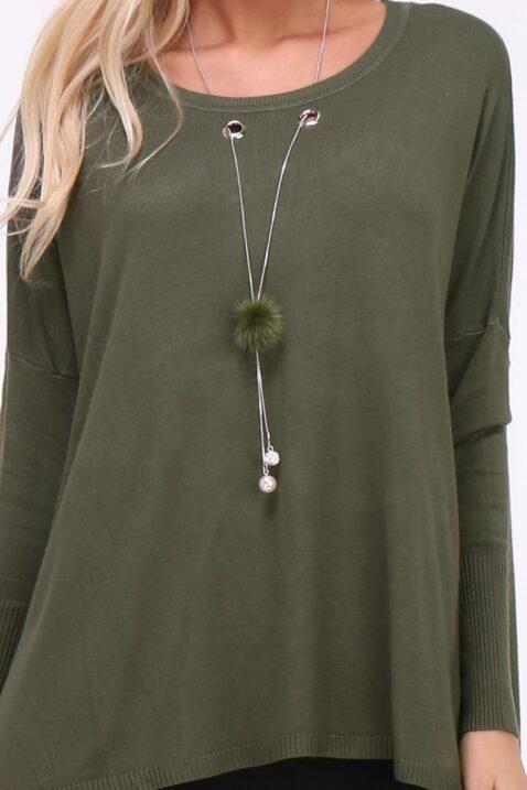 Khaki grüner leichter Damen Pullover mit Kettendetail, Ösen & seitliche Schlitze von Kilky - Detailansicht