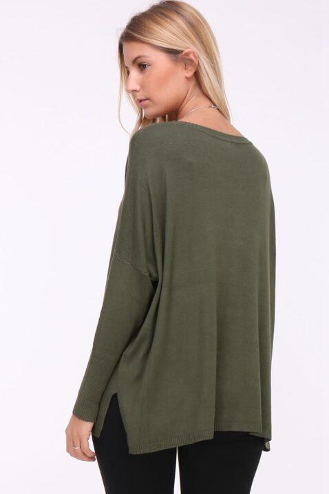 Khaki grüner leichter Damen Pullover mit Kettendetail, Ösen & seitliche Schlitze von Kilky - Rückenansicht