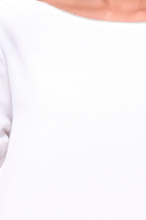 Weiße Damen Bluse mit Spitzeneinsatz am Rücken & Kragenverzierung von Kilky - Detailansicht