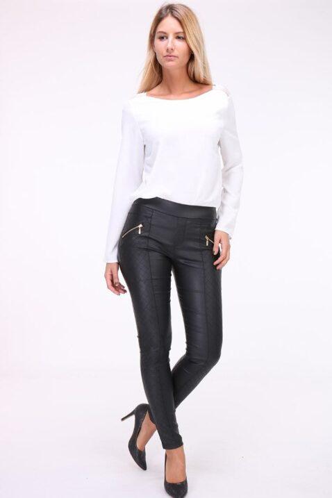 Weiße Damen Bluse mit Spitzeneinsatz am Rücken & Kragenverzierung von Kilky - Ganzkörperansicht