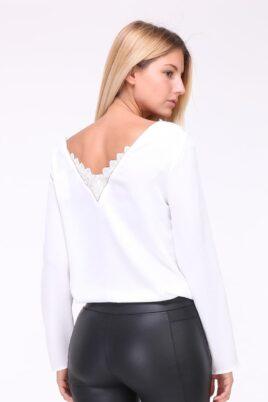 Weiße Damen Bluse mit Spitzeneinsatz am Rücken & Kragenverzierung von Kilky - Rückenansicht