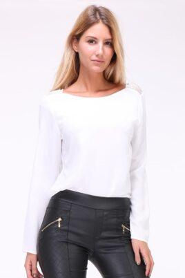 Kilky weiße Damen Bluse mit Spitzeneinsatz am Rücken & Kragenverzierung – Vorderseite