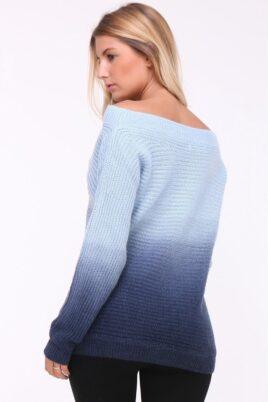 Blauer Damen Strickpullover mit Farbverlauf und Batikmuster von Luzabelle - Rückenansicht