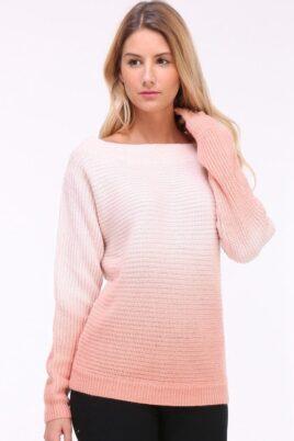 Luzabelle rosa Damen Strickpullover mit Farbverlauf und Batikmuster – Vorderansicht