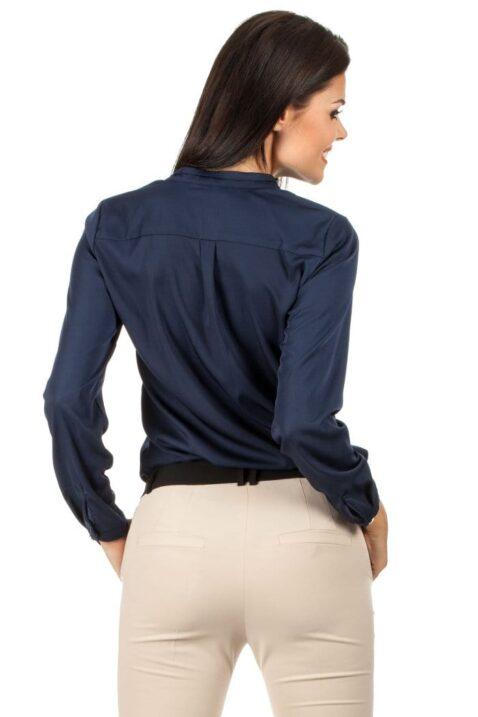 Marineblaue navy blaue Damen Bluse mit Stehkragen - klassische & elegante Langarmbluse von MOE - Rückenansicht