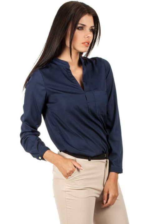 Marineblaue navy blaue Damen Bluse mit Stehkragen - klassische & elegante Langarmbluse von MOE - Seitenansicht