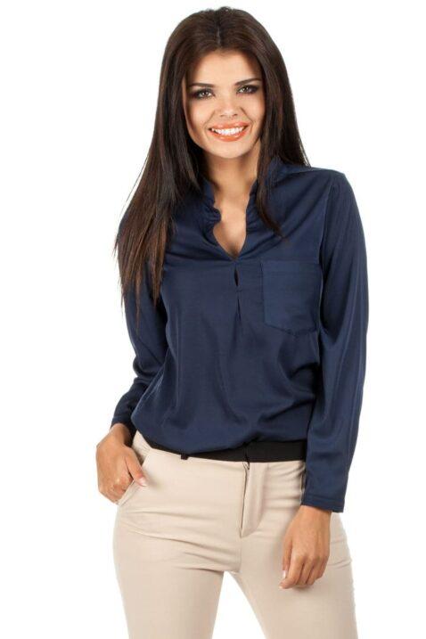 Marineblaue navy blaue Damen Bluse mit Stehkragen - klassische & elegante Langarmbluse von MOE - Vorderansicht