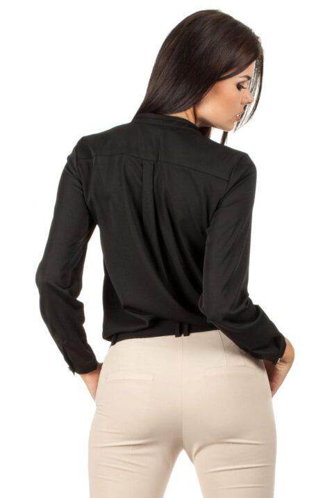 Schwarze Damen Bluse mit Stehkragen - klassische & elegante Langarmbluse von MOE - Rückenansicht