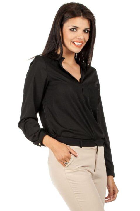 Schwarze Damen Bluse mit Stehkragen - klassische & elegante Langarmbluse von MOE - Seitenansicht