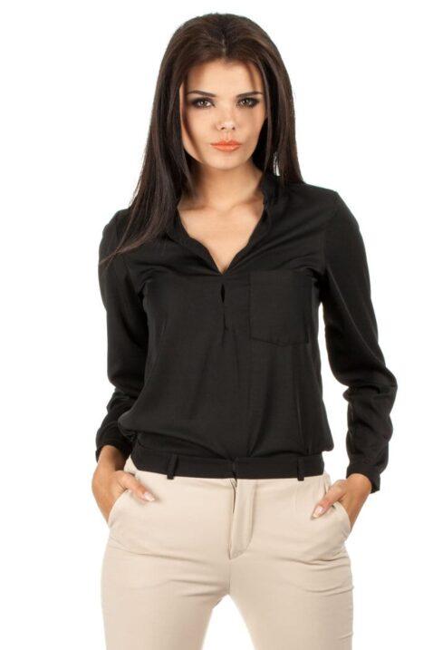Schwarze Damen Bluse mit Stehkragen - klassische & elegante Langarmbluse von MOE - Vorderansicht