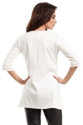 Weiße ecru Damen Bluse mit 3/4 Arm und Reißverschluss - elegante unifarben Tunikabluse von MOE - Rückenansicht