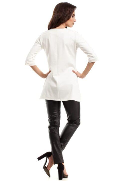 Weiße ecru Damenbluse mit 3/4 Ärmel und Reißverschluss - unifarben Tunikabluse von MOE - Rückenansicht