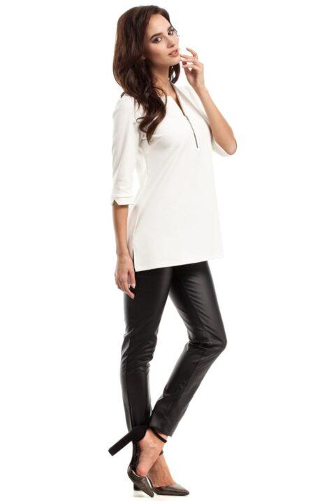 Weiße ecru Damen Bluse mit 3/4 Arm und Reißverschluss - elegante unifarben Tunikabluse von MOE - Seitenansicht