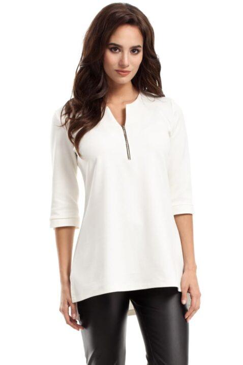 Weiße ecru Damen Bluse mit 3/4 Arm und Reißverschluss - elegante unifarben Tunikabluse von MOE - Vorderansicht