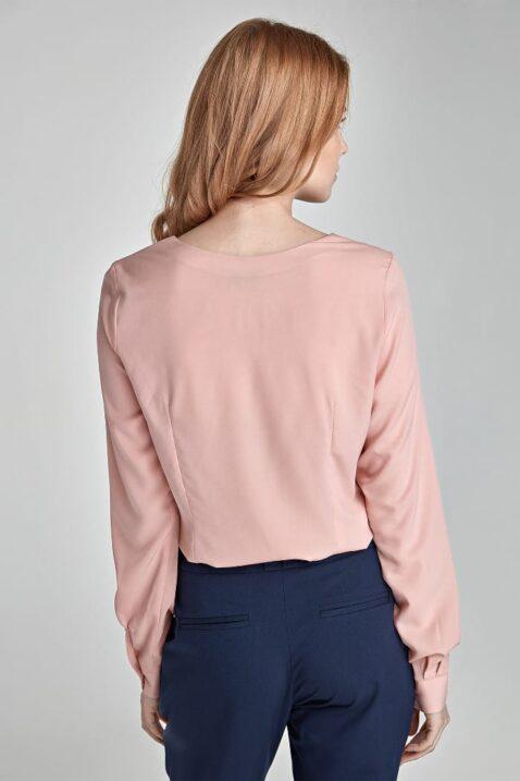 Rosa pinke Damen Bluse mit Detail am Ausschnitt - Langarmbluse von Nife - Rückenansicht