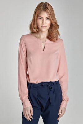 Nife rosa pinke Damen Bluse mit Detail am Ausschnitt – Langarmbluse – Vorderansicht