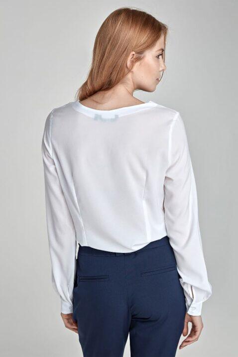 Weisse ecru Damen Bluse mit Detail am Ausschnitt - Langarmbluse von Nife - Rückenansicht