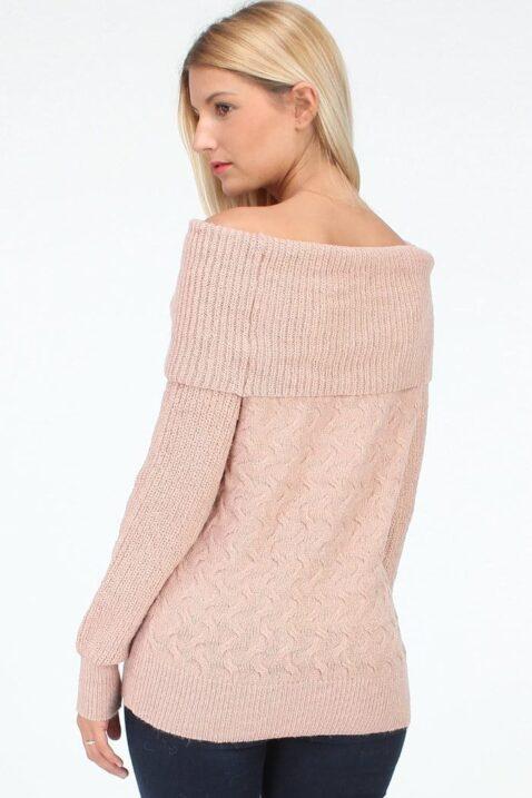 Rosa Damen Strickpullover mit Carmen-Ausschnitt - Grobstrickpullover von QUEEN´S - Rückenansicht