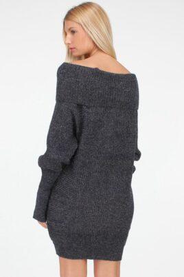 Dunkelgraues Damen Strickkleid mit Carmenausschnitt - Grobstrickkleid & Carmenkleid von QUEEN´S - Rückenansicht