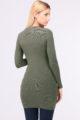 Khaki grünes leichtes Damen Feinstrick-Kleid - Pulloverkleid von QUEEN´S - Rückenansicht