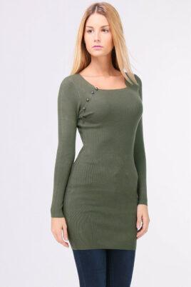 QUEEN´S khaki grünes leichtes Damen Feinstrick-Kleid – Pulloverkleid – Vorderansicht