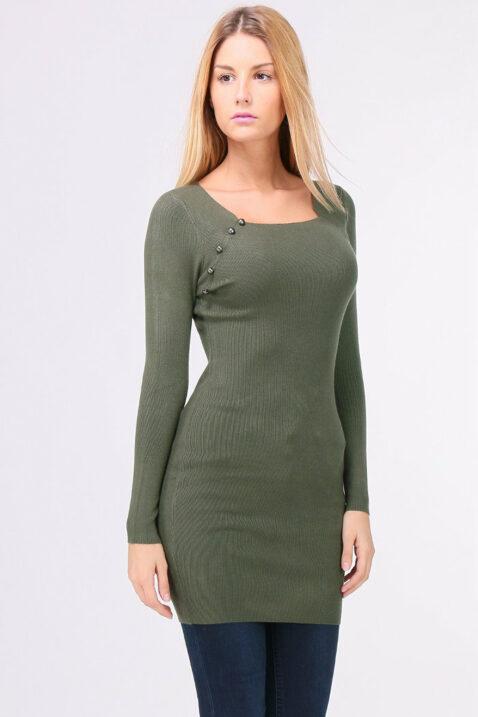 Khaki grünes leichtes Damen Feinstrick-Kleid - Pulloverkleid von QUEEN´S - Vorderansicht