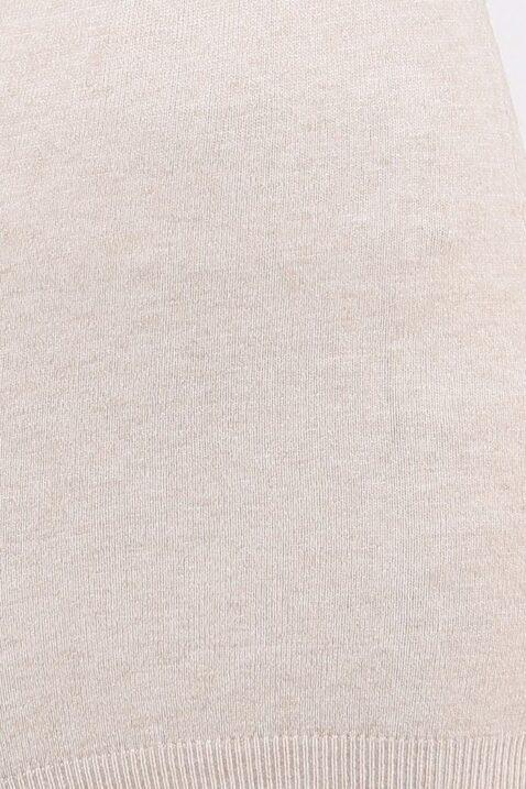 Beiges Damen Pulloverkleid mit Carmenkragen - Sweatkleid & Strickkleid von Whoo - Detailansicht
