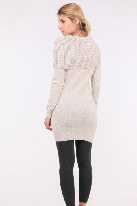 Beiges Damen Pulloverkleid mit Carmenkragen - Sweatkleid & Strickkleid von Whoo - Rückenansicht