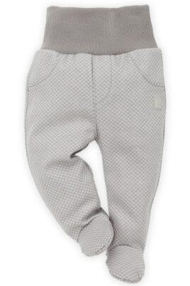 Pinokio graue Baby Jungen Strampelhose mit Fuß gemustert Schlafhose Babyhose unisex – Vorderansicht