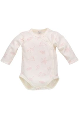 Pinokio ecru weißer Baby Mädchen Wickelbody langarm Häschen & Blätter Motive mit Druckknöpfe – Vorderansicht